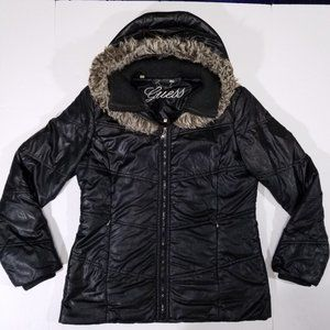 Guess Black Puffer Winter Jacket w/ Faux Fur Hood